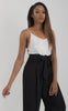 Image of SLEEVELESS PAPERBAG WAIST JUMPSUIT-Black