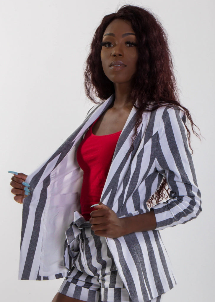 Striped Cinched Sleeve Blazer