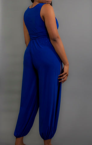Blue Slitted Jumpsuit