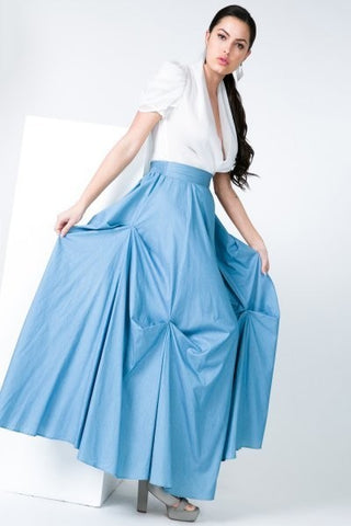 DENIM TACKED MAXI LONG SKIRT