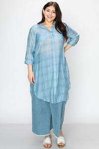 GRID PRINT SHEER SHIRT DRESS-Blue