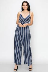 Image of COLOR BLOCK STRIPE JUMPSUIT-Navy