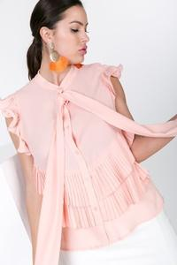 PLEAT DETAIL BOW NECK TIE BLOUSE