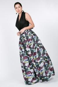 FRONT BOW TIE PRINT MAXI SKIRT