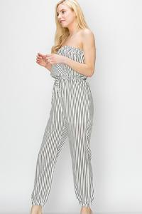 STRIPE TUBE JUMPSUIT-Off White