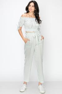 TWO PIECE SET OFF SHOULDER TOP-Jade