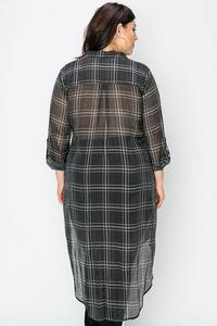 GRID PRINT SHEER SHIRT DRESS-Black