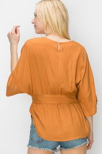 PONCHO TOP WITH WAIST TIE-Bronze