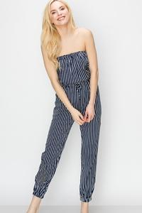 STRIPE TUBE JUMPSUIT-Navy