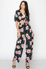 FLORAL TWO PIECE SET-Black