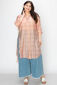 GRID PRINT SHEER SHIRT DRESS-Hazelnut