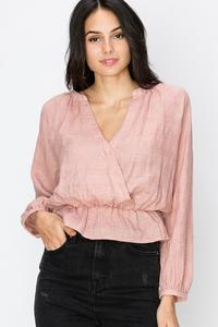 SURPLICE LONG SLEEVE BLOUSE-Mauve