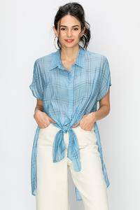 CAP SLEEVE MULTI STRIPE TIE FRONT SHIRT-Blue