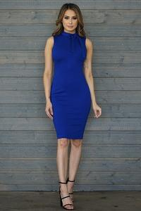 SLVLS Mock Neck w/ Bow Bodycon Midi Dress-Royal