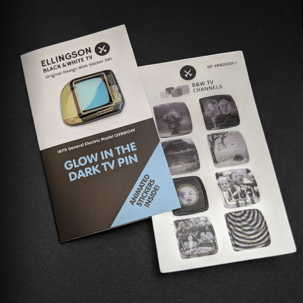 Original Edition Glow In The Dark TV Pin with Animated Sticker Set