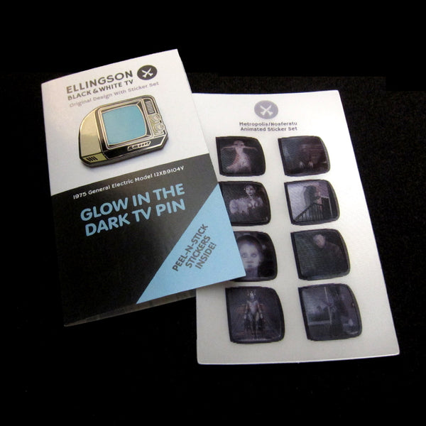 Glow In The Dark TV Pin<br>Original Edition with<br>Animated Sticker Set
