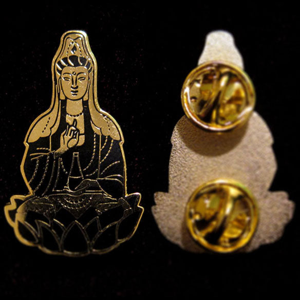 Quan Yin Black/Gold Hard Enamel Pin