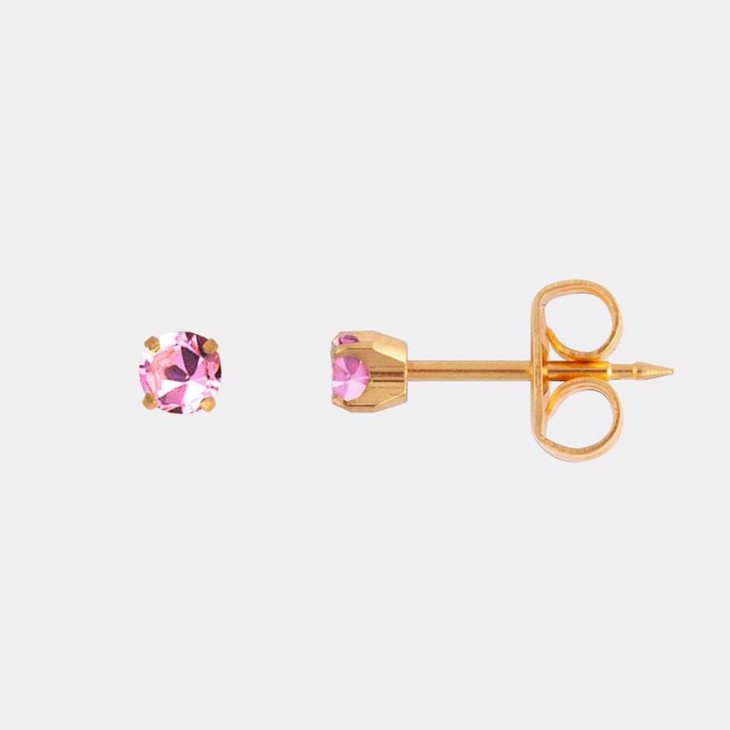 Studex 3mm Pink Cubic Zirconia 24K Pale Gold Stud