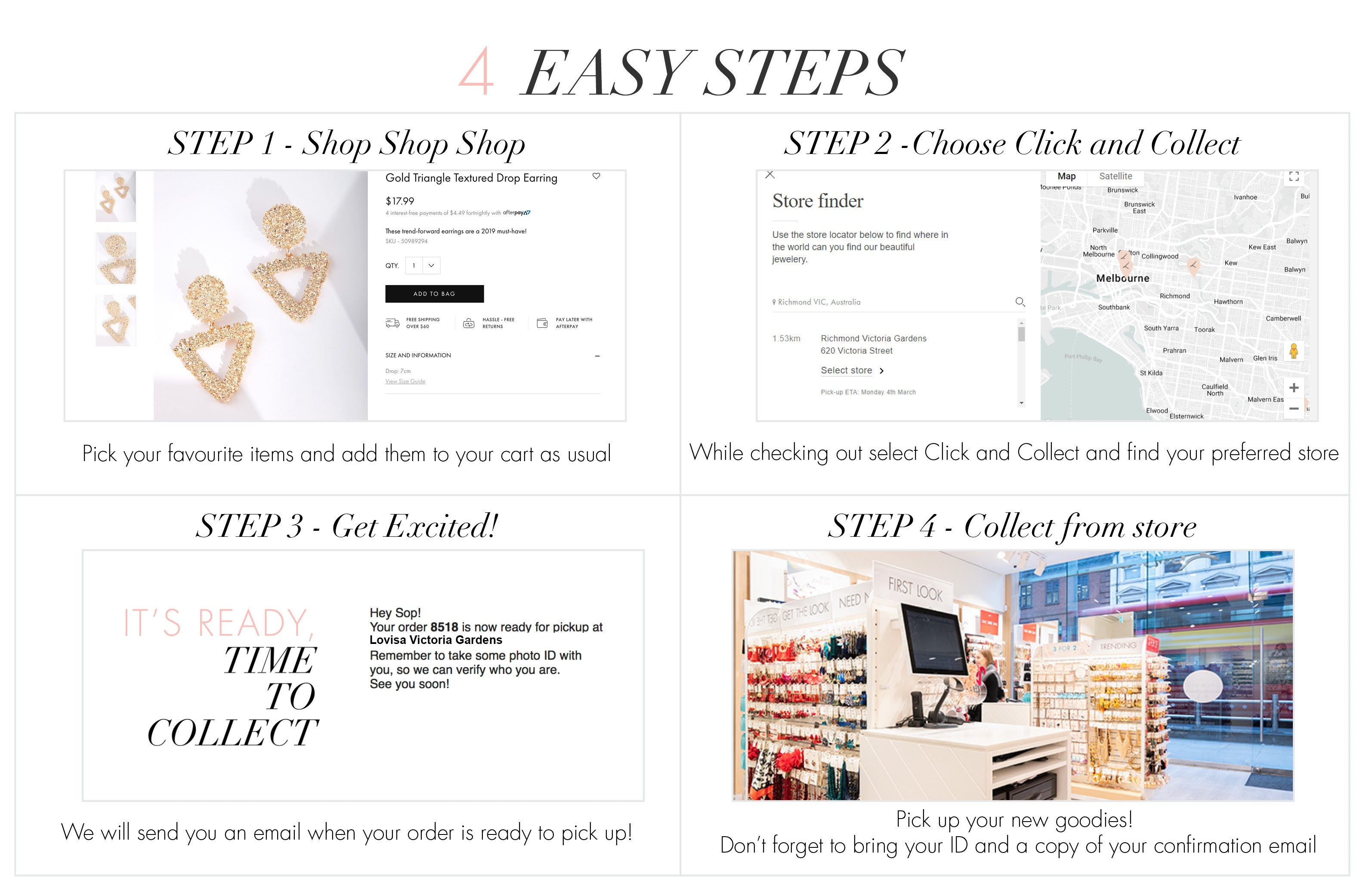 4 Easy Steps | Step 1 - Shop | Step 2 - Choose Click & Collect | Step 3 - Time to Collect Message | Step 4 - Collect!