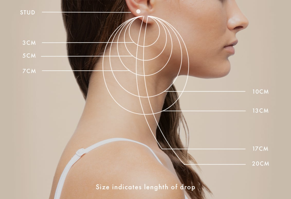 Earring Size Guide - Size indicated length of drop