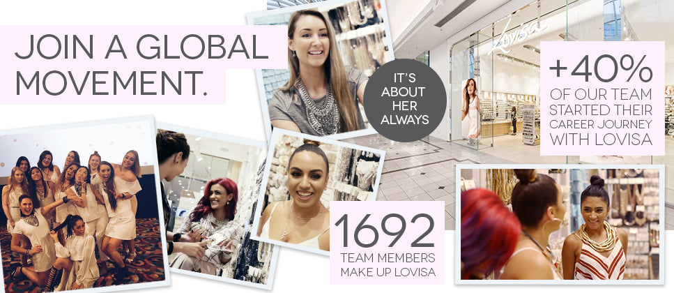 Join a Global Movement | It's About Her Always | 1692 Team Members Make Up Lovisa | +40% of Our Team Started Their Career Journey With Lovisa