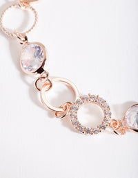 Rose Gold Circle Link Gem Bracelet - link has visual effect only