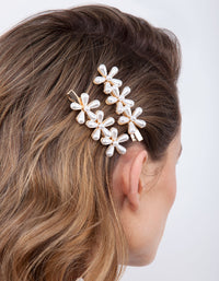 Gold Pearl Flower Hair Clip Pack - link has visual effect only