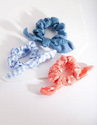 Kids BLue Pink Check Scrunchie Pack