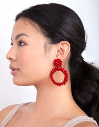 Red Cluster Bead Earring