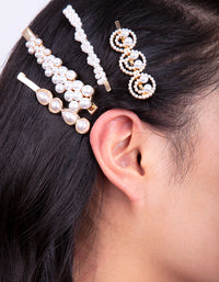 Gold Smile Pearl Hair Clip Pack - link has visual effect only