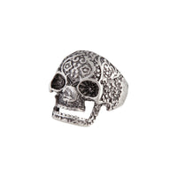 Antique Silver Detailed Skull Ring