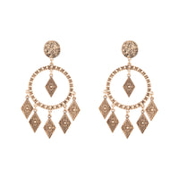 Antique Gold Textured Diamante Circle Earring - link has visual effect only