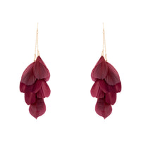 Burgundy Multi Feather Chain Earring