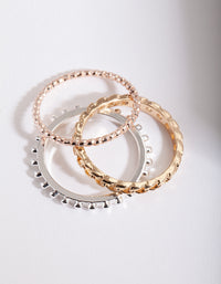 Mixed Metal Chain Ring Stack