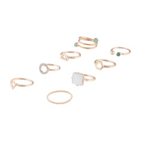 Gold Geometric Swirl Diamante Ring 8 Pack - link has visual effect only