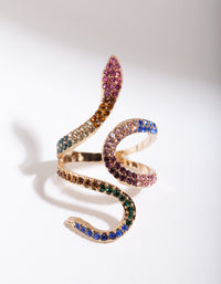 Rainbow Diamante Snake Wrap Ring - link has visual effect only