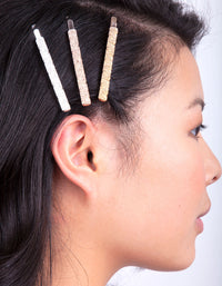 Mixed Metal Textured Hair Clip 6 Pack - link has visual effect only
