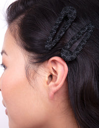 Black Textured Hair Clip 2 Pack - link has visual effect only