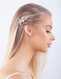 Rose Gold Floral Crystal Pearl Hair Clip - link has visual effect only