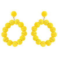 Yellow Cord Wrap Hoop Earring