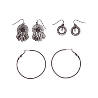 Black Filigree Stamp Hoop Earring 3 Pack