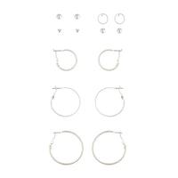 Silver Diamante Stud Hoop Earring Pack