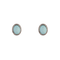 Antique Silver Blue Oval Stud Earring - link has visual effect only