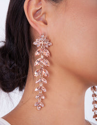 Rose Gold Pink Diamante Navette Earring - link has visual effect only