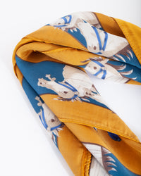 Mustard Luxe Horse Scarf