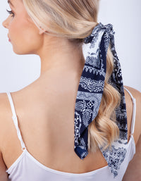 Navy White Paisley Bow Scrunchie - link has visual effect only