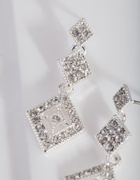 Silver Triple Drop Diamante Earring - link has visual effect only