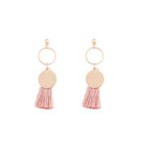 Gold Disc Charm Tassel Earring - link has visual effect only