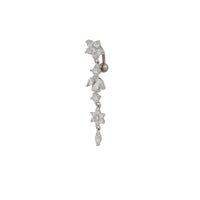 CZ Flower and Leaf Drop Belly Bar