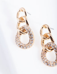 Gold Diamante Link Earring - link has visual effect only